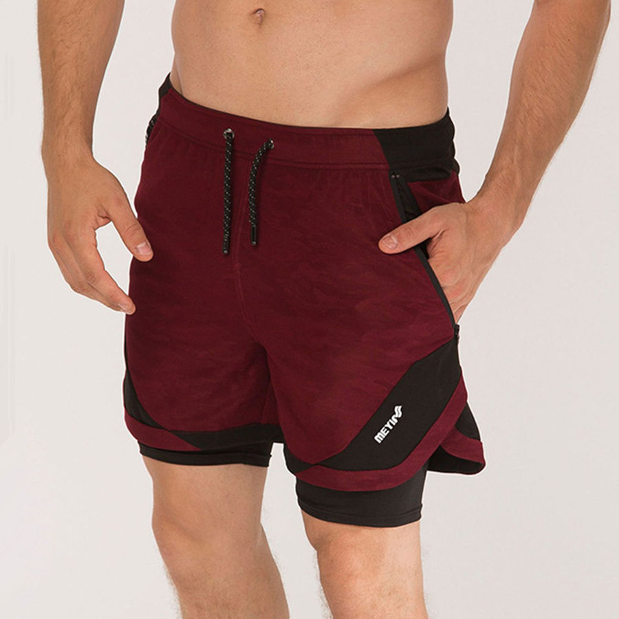 Mens 2 In 1 Jogger Shorts Gyms Fitness Quick-dry Short Pants Male Summer Casual Loose Beach Sweatpants Crossfit Sporty Bottoms