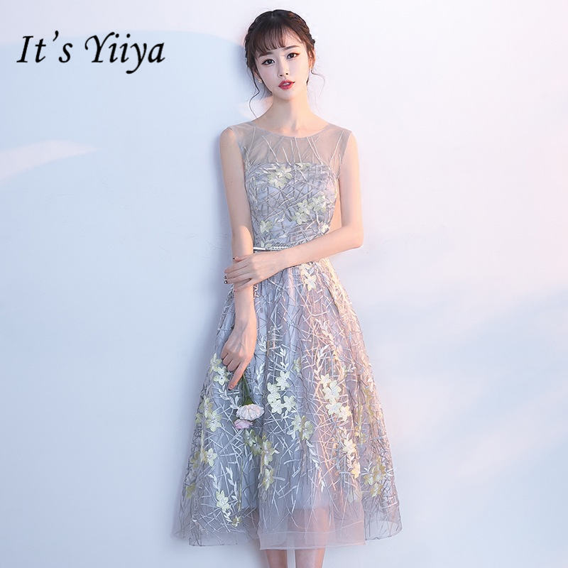 It's YiiYa New Embroidery   Prom     Dresses   O-neck Sleeveless Formal   Dress   Party Gown JLM002