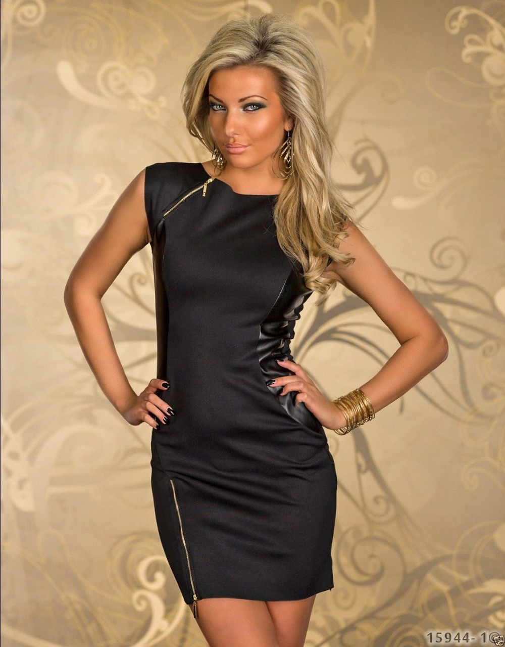 free shipping summer sleeveless black sexy dress ml18100