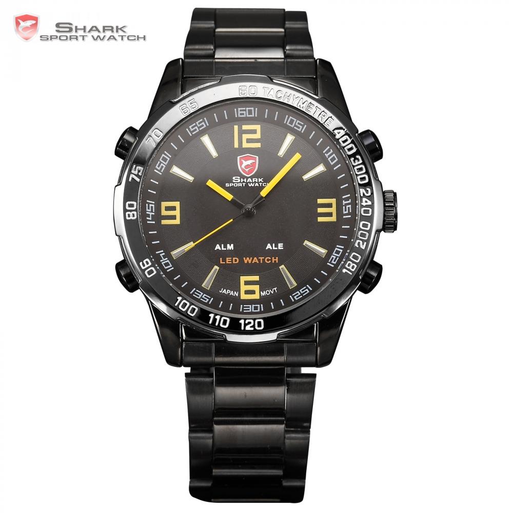 Prix pour Bull SHARK Sport Montre Hommes Noir Inoxydable Bande En Acier Plein numérique LED Dual Time Date Alarme Jaune Bracelet À Quartz Montres/SH009
