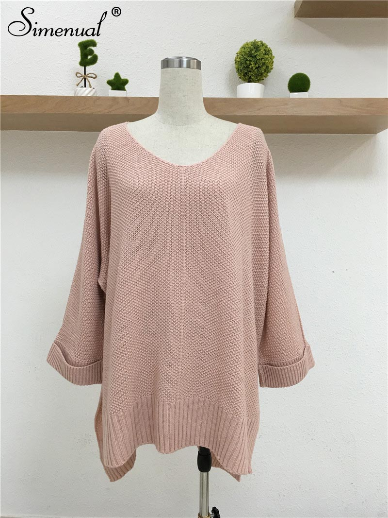 Oversized Batwing Sleeve Lady's Sweater, Knitwear V Neck, Long Pullover 16