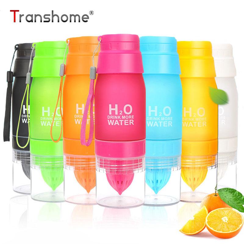 Transhome Fruit Infuser Water Bottle 650ml Plastic Lemon Juice Drinkware With Infuser Creative Bottles for Sport Tour