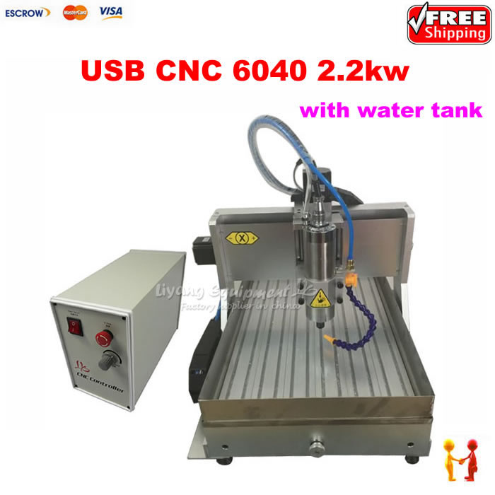 Factory 2.2KW 3Axis mini cnc router metal cutting machine 6040 USB port router CNC 4060 for metal wood stone with water sink