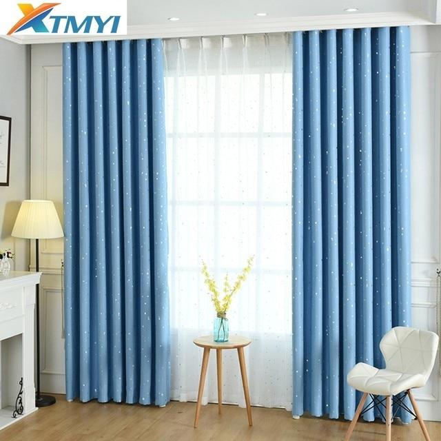Blue Star Children Curtains Bedroom Living Room Blackout Kids Room Curtains  Girls Cartoon Window Fabric Custom