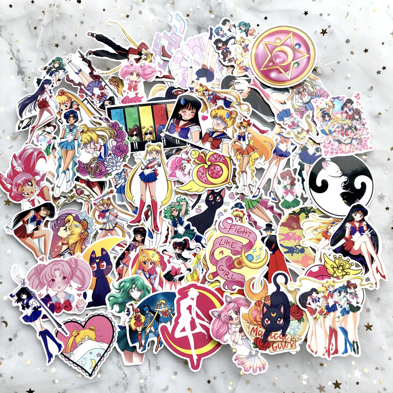 75 Pcs/Set Anime Sailor Moon Sticker Cartoon Waterproof Stickers For Laptop Suitcase Bicycle