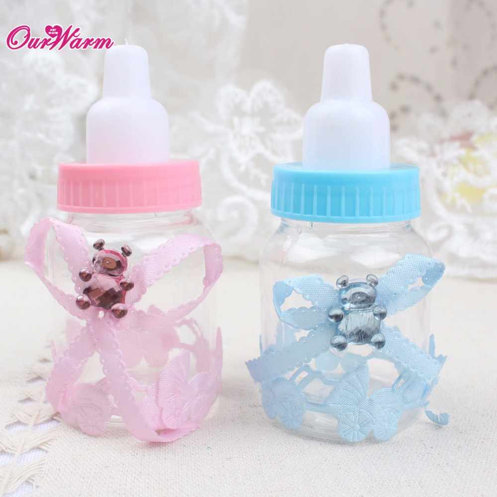 12x Baby Shape Pink/Blue Baby Shower Party Favor Boxes Candy Bottle ...