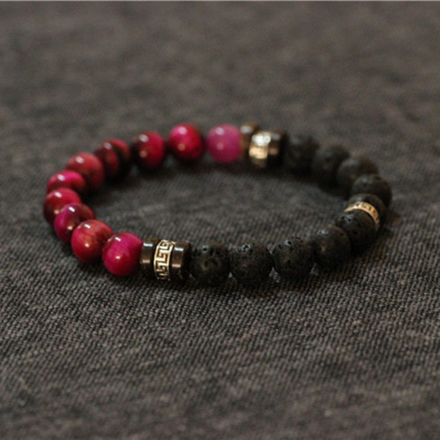 Men Bracelet Red Tiger Eye Lava Stretch Stone Jewelry 925