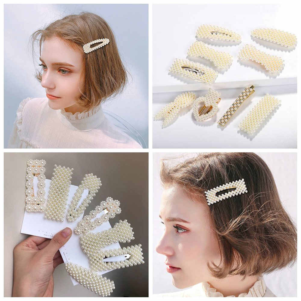 Chic Imitation Pearl Hair Clip for Women Girls Elegant BB Hair pins Snap Barrette Stick Hairpin Hair Styling Accessories