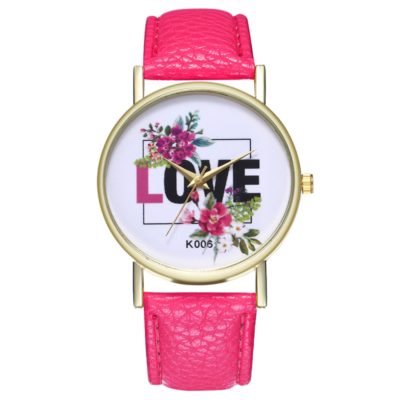 Fashion PU Leather Dress Clock Ladies Watch Quartz Watch Creative LOVE Letter Wrist Watch Women For Dropshipping Women Watches