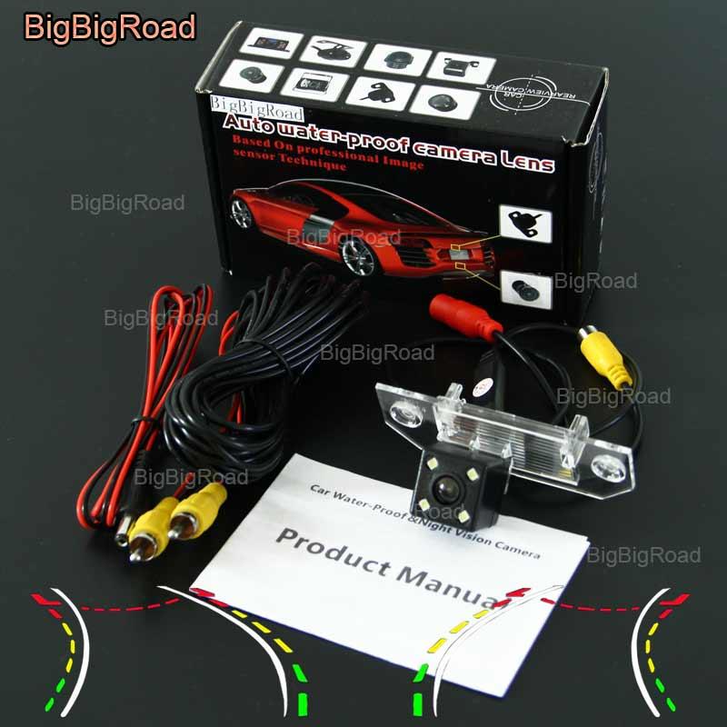 BigBigRoad Car Intelligent Dynamic Track Rear View Camera Backup Reverse Camera For Ford Focus sedan 2009-2014 C-MAX CMAX Mondeo