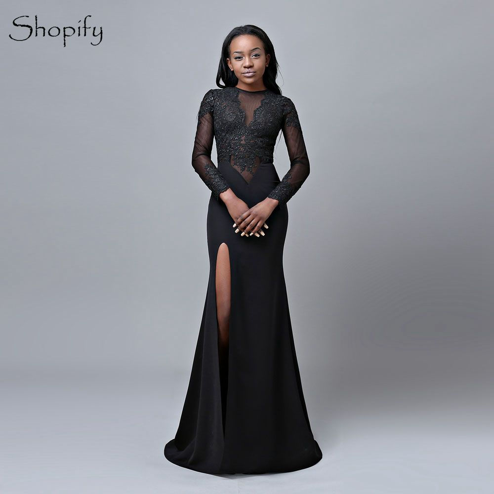Sexy Long   Prom     Dresses   2019 Elegant Mermaid Scoop Long Sleeves High Slit Party African Black   Prom     Dress   For Women