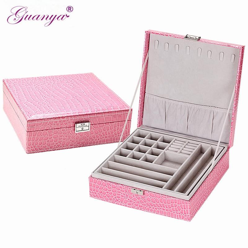 Guanya Brand Leather Storage Boxes Square Shape Wood Jewelry Box Wedding Gift Makeup Storage Bin Earrings Ring Organizer
