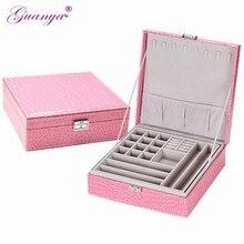 Guanya marca caixas de armazenamento de couro forma quadrada caixa de jóias de madeira presente de casamento maquiagem armazenamento bin brincos anel organizador