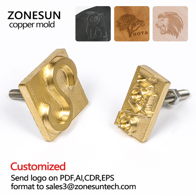 ZONESUN Brass copper stamping machine mold, leather stamp mold die cut emboss mold, brass copper mold, leather bronzing die cut