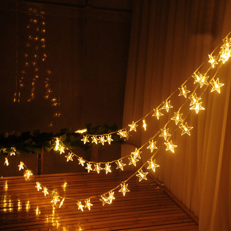 fd3b7b2b7496c 10 m 50 نجوم 50 m LED سلسلة مصابيح عطلات السنة الجديدة جارلاند LED عيد  الميلاد أضواء في الهواء الطلق للمنزل حزب الجنية الزفاف الديكور
