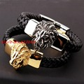 22cm *15mm Cool Lion head Bracelet Men's Genuine Black Leather Bracelets Fashion Silver Gold 316L Stainless Steel Bangle Jewelry