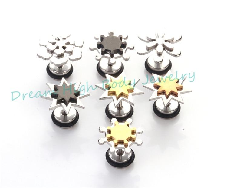 New Style Earring Double Five Star Flower wheel gear Stainless Steel Punk Fashion Body Jewelry Cool Ear Stud Nail Mens