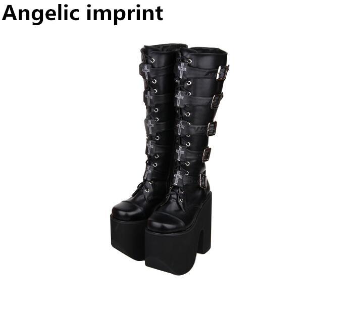 Angelic imprint mori girl Women punk motorcycle cool boots lady lolita Boots woman high trifle heel
