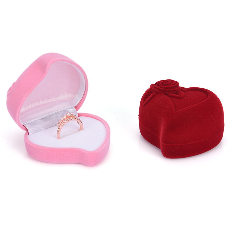 Red Rose Heart Shaped Jewelry Display Box Velvet Ring Earring Gift 1pcs Storage Case 64*60*44mm