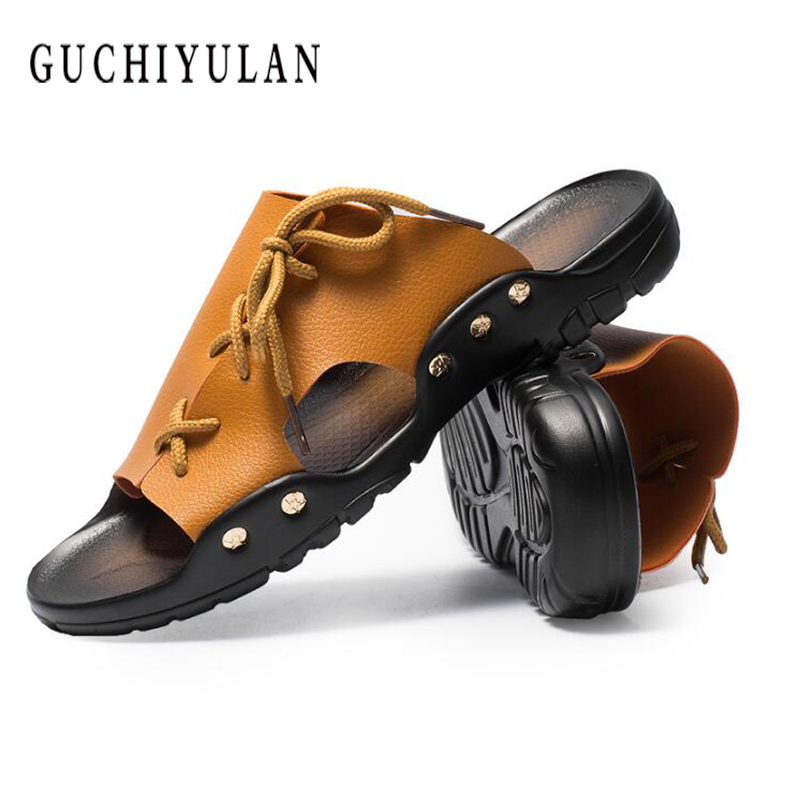 Summer Men Flip Flops High Quality Beach Sandals Genuine Leather Non-slide Male Slippers Zapatos Hombre Casual Shoes New Arrival