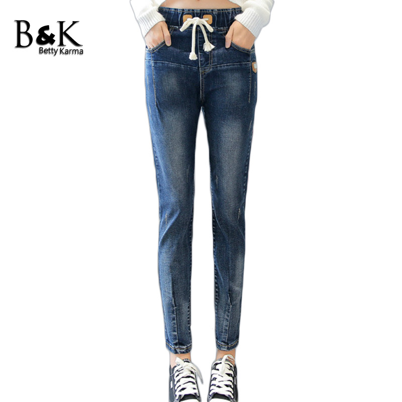 BettyKarma Autumn Winter Elastic Waist Jeans Woman Plus Size 3XL Trousers Casual Jeans Pants Girls Denim Jeans Pantalon Femme 2017 new jeans women spring pants high waist thin slim elastic waist pencil pants fashion denim trousers 3 color plus size