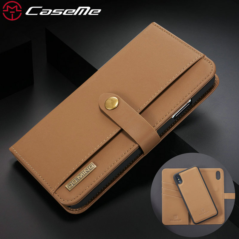 CaseMe Lambskin Wallet Case For iPhone XS Max Retro 2 in 1 Genuine Card Money Flip Handmade For iPhone 6 S 7 8 Plus Leather Case image