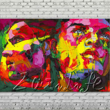 Palette knife portrait Face Oil painting Character figure canvas Hand painted Francoise Nielly wall Art picture 509