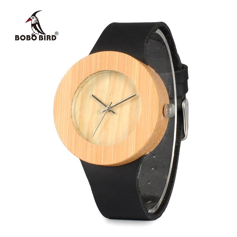 BOBO BIRD V-C09 Män Kvinnor Bambu Trä Watch Causal Round Case Quartz Klocka Med Äkta Läder Rem Watch i Presentförpackning