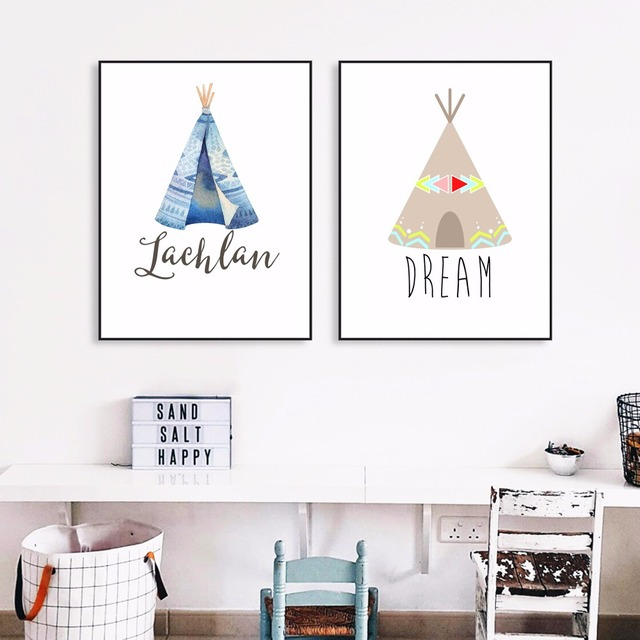 Native Indian Tee Nursery Canvas Art Print Painting Poster Wall Pictures For Kids Room Home Decorative