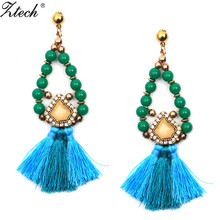Fashion boho Long tassel earrings For Women Blue Beads Chain vintage bohemia jewelry new year gift brincos pendientes