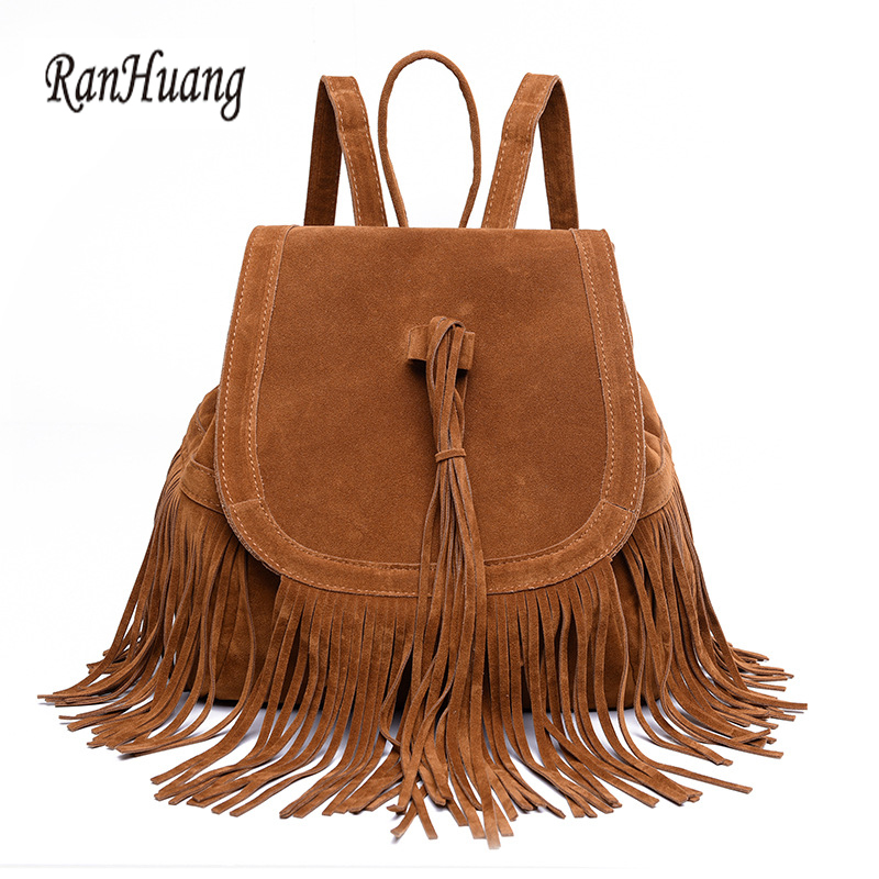 ФОТО RanHuang New 2017 Women Fashion Tassel Design Pu Leather Women's Shoulder Bags Black Brown Vintage Backpack Girls School Bag