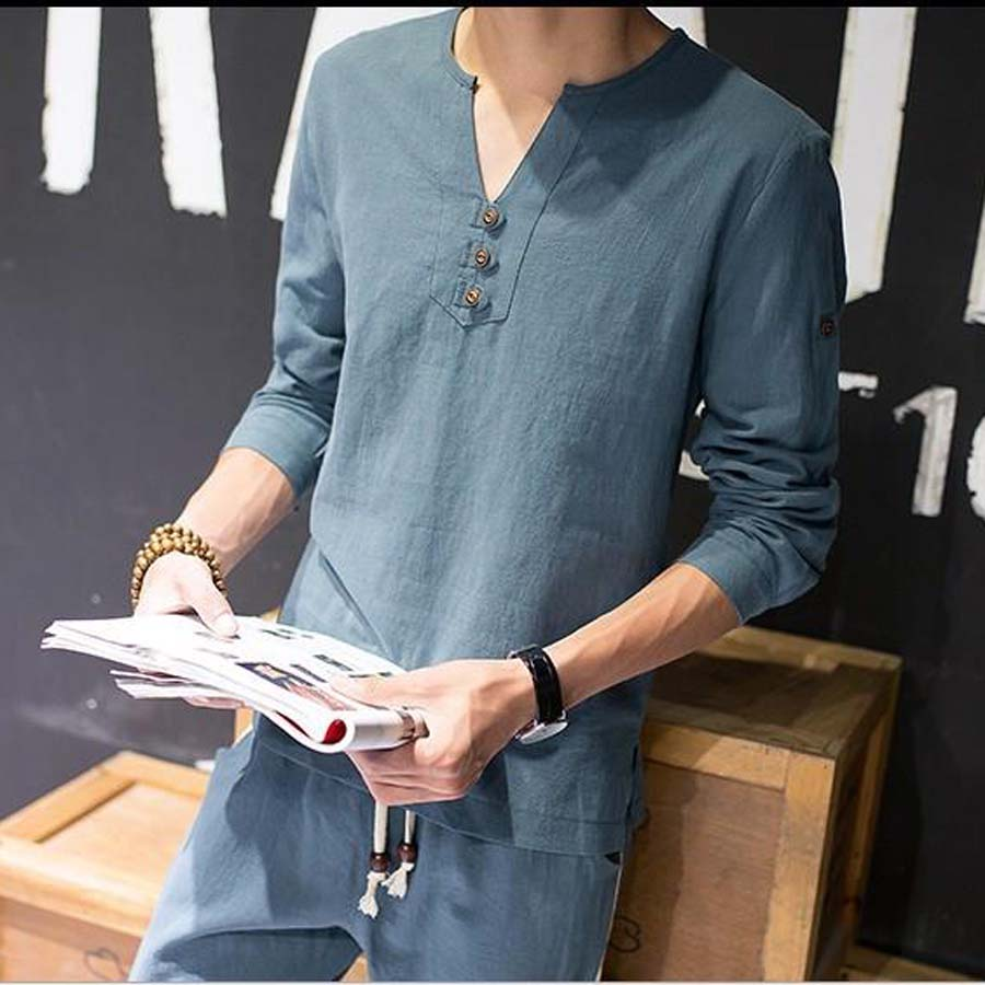 Linen White Tshirt Men Casual T Shirt Long Sleeve V Neck Cotton