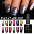 Saviland 1pcs Shining Glitter Platinum UV LED Gel Lacquer 3D Paint Fingernails Gel Nail Polish Primer Top Base Gel Varnish