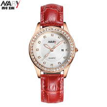 Elegant Ladies Crystal Roman Numerals Golden Plated PU Band Business Wrist Watches New Design Women quartz watch Fashion Dress