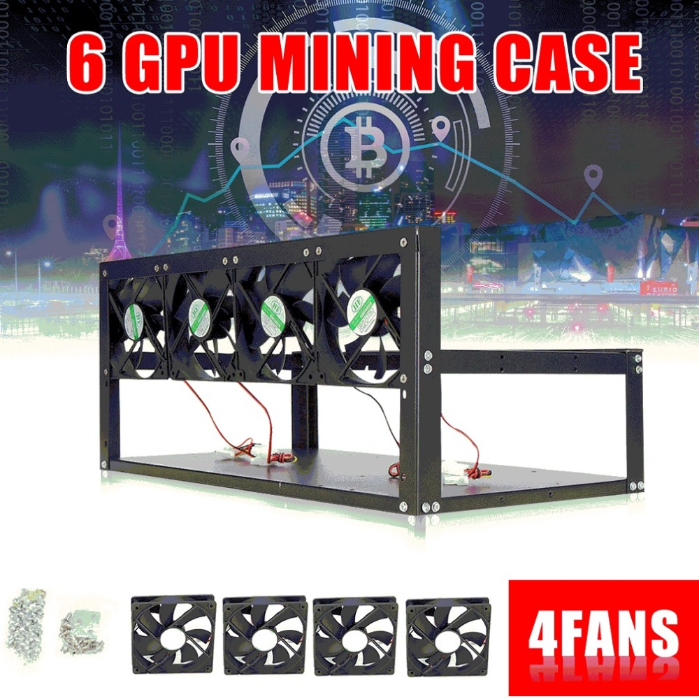 6 Graphics Card GPU Mining Rig Aluminum Case with 4 12cm Fans Open Air Frame for ETH ZEC for Bitcoin Mining Case Kit