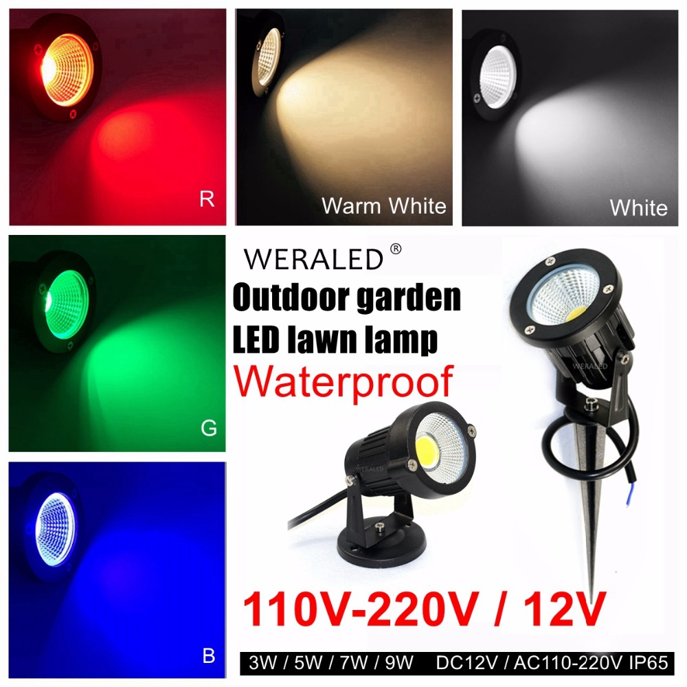 LED lawn lamp 12V 110V 220V Outdoor led Garden Wall Yard Path Light 3W 5W 7W 9W COB Waterproof LED Flood Spot Landscape light