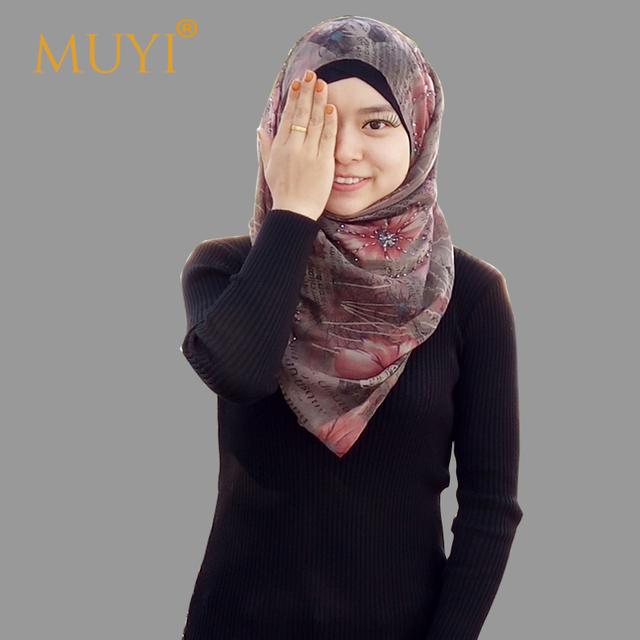Turbante de lujo hecho a mano rebordear larga viscosa mantón islámico mujeres cabeza ocasional tendencia bufanda de moda hijab musulmán