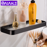 Bathroom Shelf Glass Aluminum Single Bathroom Shelves Shower Storage Rack Decorative Toilet Racks Shampoo Shelf Wall Mounted