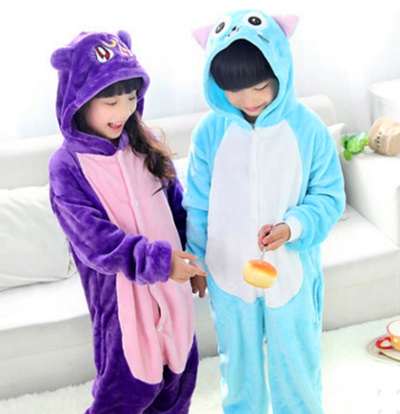 Flannelette animal purple cat habilian pajamas long sleeve cartoon home for the autumn and winter plush children