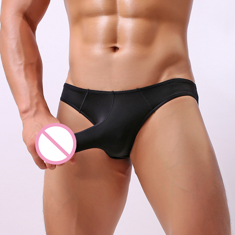 Super Sexy Men Ice Silk Underwear Male Cool Sexy Elephant Nose Big Pouch Briefs Panties Man Solid Underpants Clothing