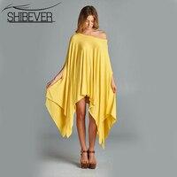 SHIBEVER D'été Sexy Mini Femmes Robes Manches Chauve-Souris D'o-Cou Solide Casual Robe Femmes Mode Lâche Femelle Robes QZH5064