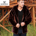 HONGZUO Brand Men Fur Coat Hooded 2016 Winter Plus Size Faux Fur Coat Men Parka Jackets Thick Warm  Overcoat PC112