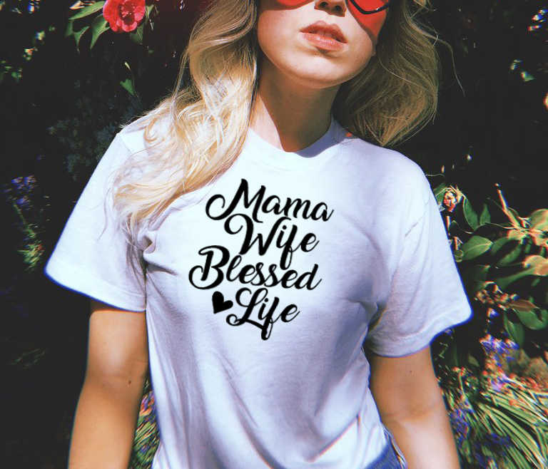 41f685ce Detail Feedback Questions about Mama Wife Blessed Life T Shirt ...