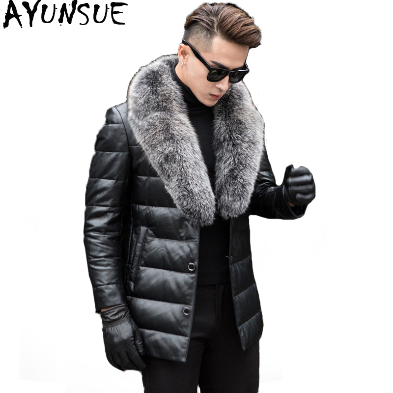 AYUNSUE Men's Genuine Leather Down Jacket Male Winter Coat Men Fox Fur Collar Sheepskin Leather Jackets Jaqueta De Couro KJ651