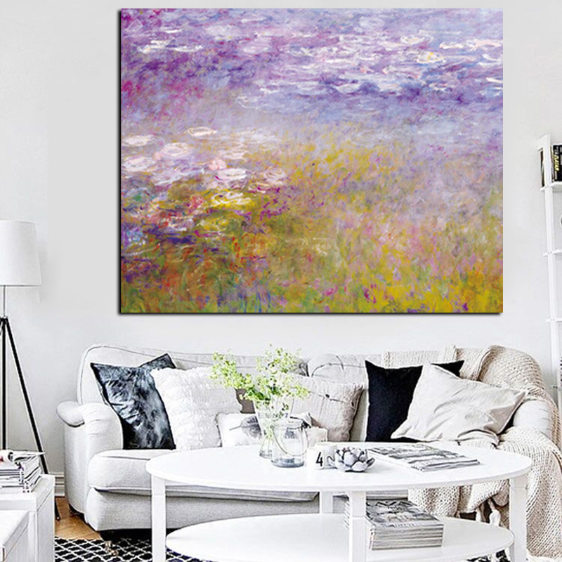 HD Cetak Claude Monet Lotus Landscape Oil Painting pada Canvas Art Impressionist Wall Picture Picture Poster untuk Living Sofa Room