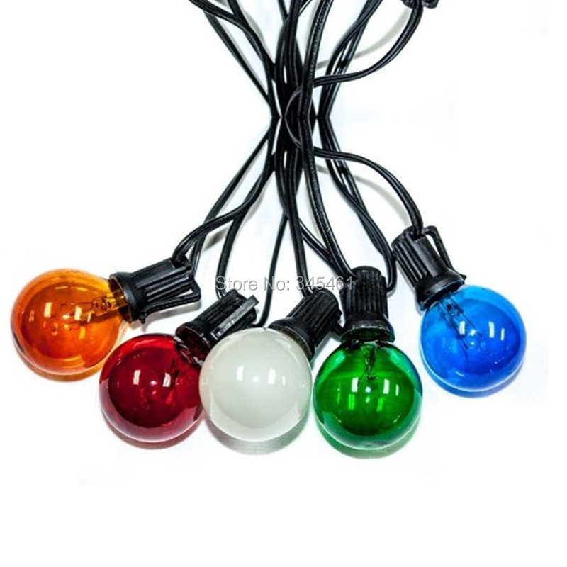 ФОТО Colorful G40 String Light Set 25Ft Black/Green/White Cable with 25 Bulbs Cute Festive Patio Garden House Decro Christmas Lights