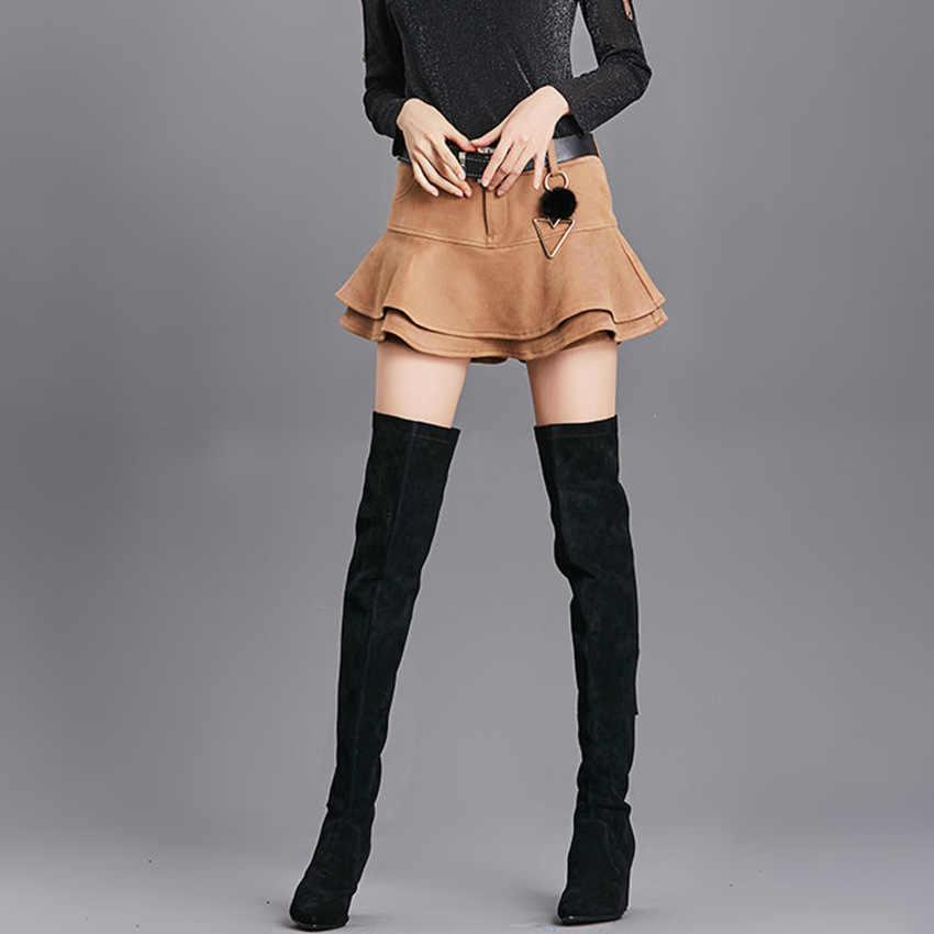 Женские шорты, юбки 2017 Осень и зима брюки крючком замшевые шорты юбки с завышенной талией, плиссированные однотонные сапоги Шорты Мода