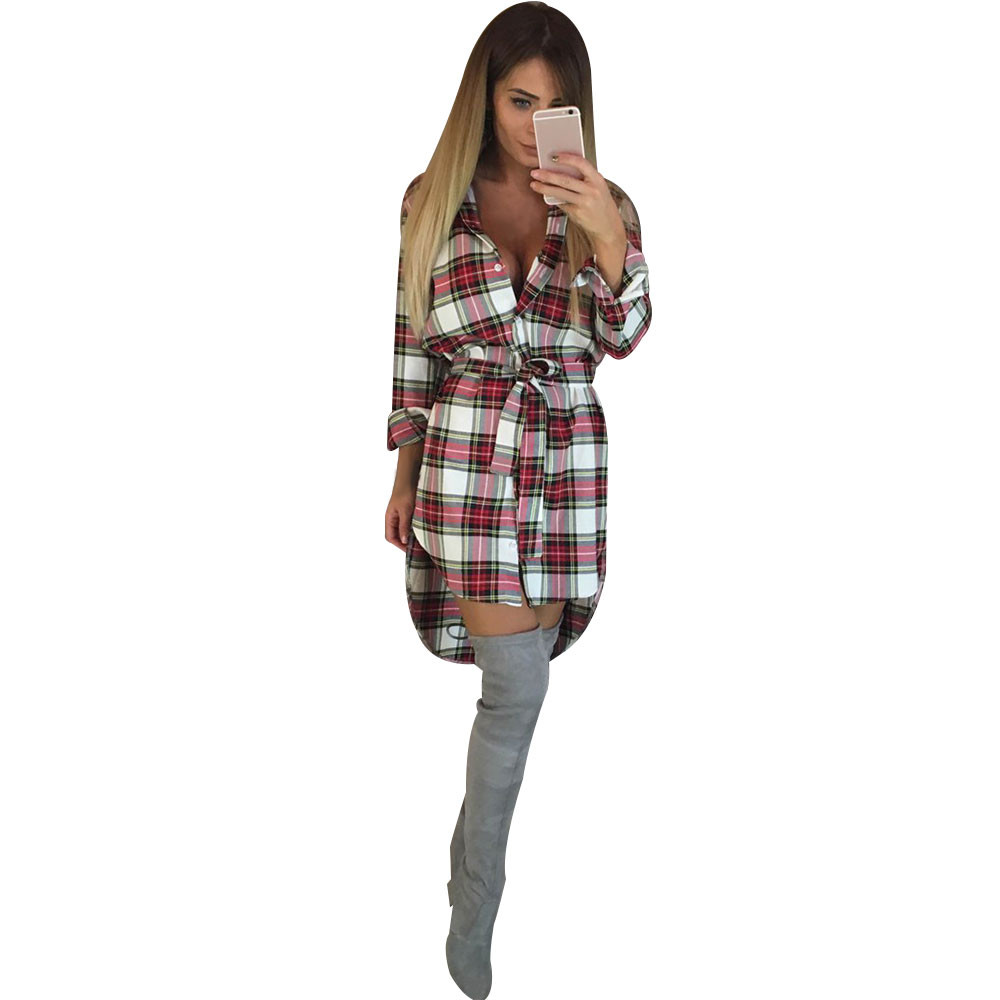 NEW Womens SIZE XL Plaid LONG SLEEVE Casual Irregular SHIRT//DRESS w// Pockets