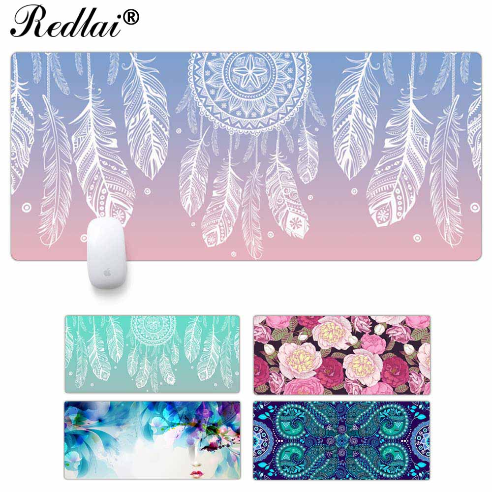 Redlai Non-Skid Rubber Large Size Gaming Mouse Pad Dream Catcher Feather Pattern Mouse Mat Desktop PC Computer Laptop Mousepad maiyaca rainbow pastel watercolor moroccan pattern prints mouse pad small size round gaming non skid rubber pad