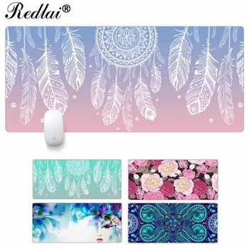 Redlai Non-Skid Rubber Large Size Gaming Mouse Pad Dream Catcher Feather Pattern Mouse Mat Desktop PC Computer Laptop Mousepad